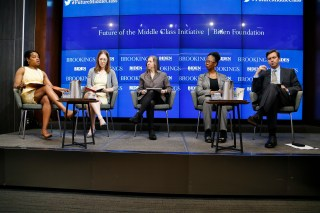 Panelists on stage at the launch event of the Future of the Middle Class Initiative.