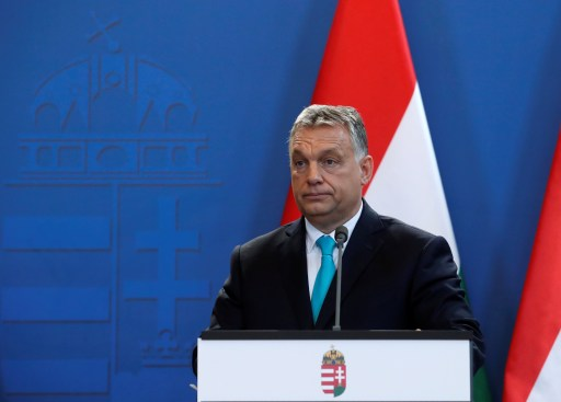 Hungarian Prime Minister Viktor Orban and Columbian President Juan Manuel Santos (not pictured) give a statement to the media in Budapest, Hungary, May 11, 2018. REUTERS/Bernadett Szabo