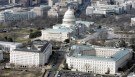 The U.S. Capitol and (from L to R) Rayburn House Office Building, Longworth House Office Building, and Cannon House Office Building, photographed from the U.S. House of Representatives side of Capitol Hill from a U.S. Marine helicopter, February 10, 2006. REUTERS/Larry Downing - RP3DSFDKHLAB