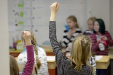 Pupils during class at the elementary school in Helsinki, Finland, February 4, 2016. Picture taken February 4, 2016. Lehtikuva/Antti Aimo-Koivisto via REUTERS ATTENTION EDITORS - THIS IMAGE WAS PROVIDED BY A THIRD PARTY. FINLAND OUT. NO THIRD PARTY SALES. - RC1237807E30