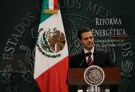 Mexican President Enrique Pena Nieto gives a speech during his proposal for energy reforms at Los Pinos presidential residence in Mexico City August 12, 2013. Nieto on Monday proposed a sweeping energy reform that would amend the constitution to offer private companies lucrative profit-sharing contracts, seeking to lure investment to stem sliding oil output.The proposal calls for changes to key articles of the constitution that ban certain contracts and make oil and gas exploitation the sole preserve of the state.If enacted, the reform would mark the largest private sector opening in decades for Mexico's oil and gas sector, which was nationalized in 1938. The government will send its proposals to Congress this week. REUTERS/Henry Romero (MEXICO - Tags: ENERGY POLITICS) - GM1E98D03ZH01