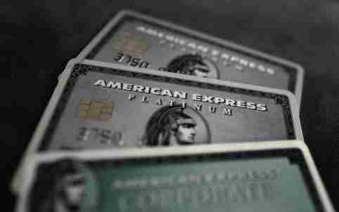 Credit cards of American Express are photographed in this illustration picture in this March 17, 2016, file photo. REUTERS/Kai Pfaffenbach/Illustration/Files  GLOBAL BUSINESS WEEK AHEAD PACKAGE - SEARCH 'BUSINESS WEEK AHEAD APRIL 18'  FOR ALL IMAGES - GF10000384784