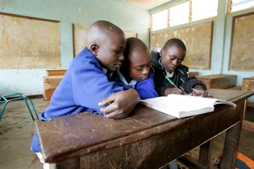 Children study at Olympic Primary school in Nairobi