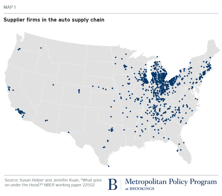 Map: Supplier firms in the auto supply chain