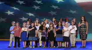 3rd grade class from the W.R. O'Dell Elementary School recite the Pledge of Allegiance.