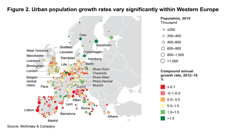 One third of cities in Western Europe have experienced population decline