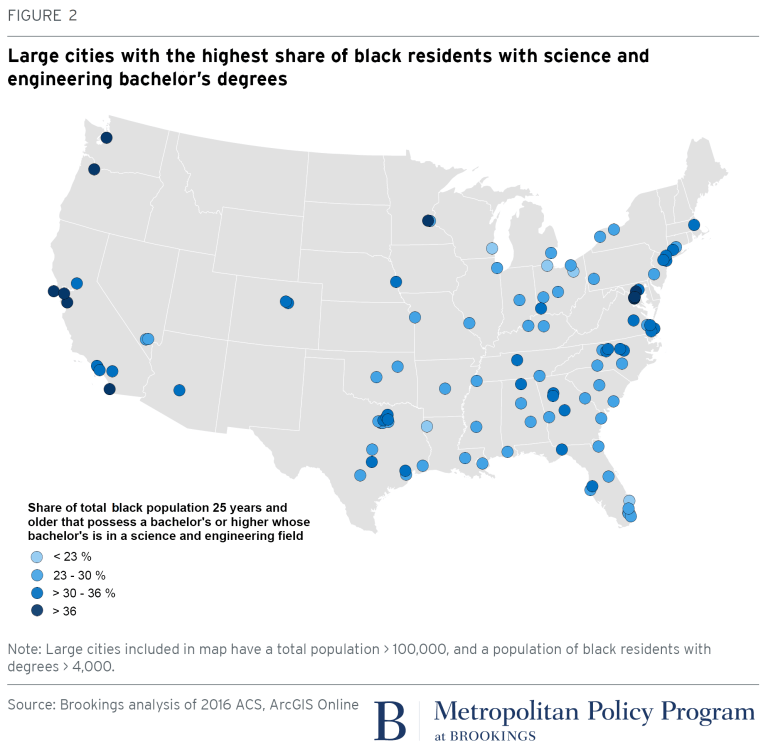 Large cities with highest share of black residents with STEM degrees
