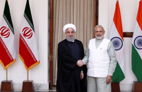 Iranian President Hassan Rouhani shakes hands with India's Prime Minister Narendra Modi (R) during a photo opportunity ahead of their meeting at Hyderabad House in New Delhi, India, February 17, 2018.