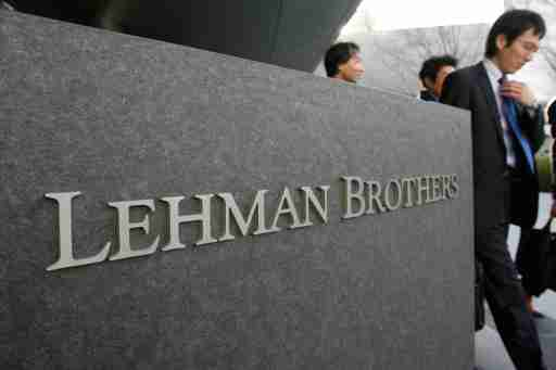 A logo of U.S. investment bank Lehman Brothers is seen outside its Asia headquarters in April 1, 2008. Lehman Brothers Holdings Inc, an investment bank beset by rumours of not having enough funding, said it plans to raise $3 billion of capital to quash questions about its stability. REUTERS/Yuriko Nakao (JAPAN) - GM1E44117R401