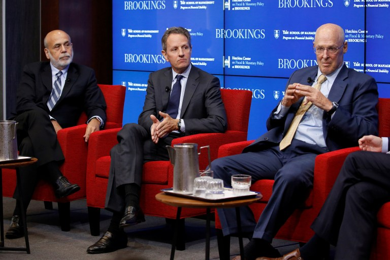 "Former Federal Reserve Board Chairman Ben Bernanke, former Treasury Secretary Timothy Geithner, and former Treasury Secretary Hank Paulson discuss ""10 Years After the Global Financial Crisis"" in Washington, U.S., September 12, 2018. REUTERS/Joshua Roberts - RC14CF9B7250"