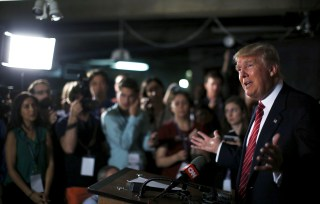 U.S. Republican presidential candidate Donald Trump speaks at a news conference.