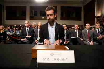 Twitter CEO Jack Dorsey is seated prior to testifying before a Senate Intelligence Committee hearing on foreign influence operations on social media platforms on Capitol Hill in Washington, U.S., September 5, 2018. REUTERS/Joshua Roberts - RC1F1C782B50