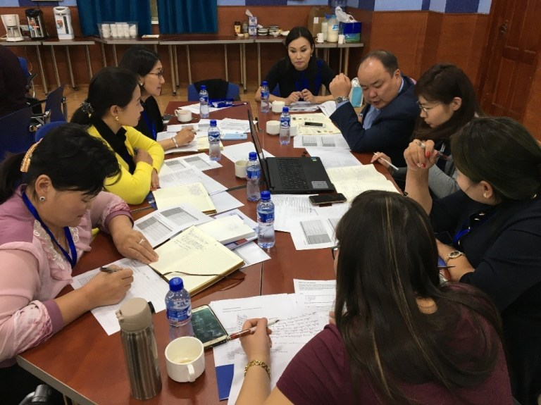 An independent review session with Mongolian teachers
