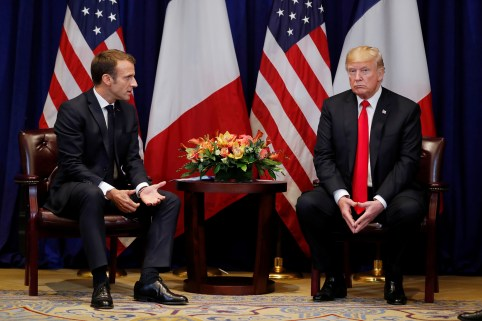 France's President Emmanuel Macron speaks to U.S. President Donald Trump as they hold a bilateral meeting on the sidelines of the 73rd United Nations General Assembly in New York, U.S., September 24, 2018. REUTERS/Carlos Barria - RC13D2AE5120