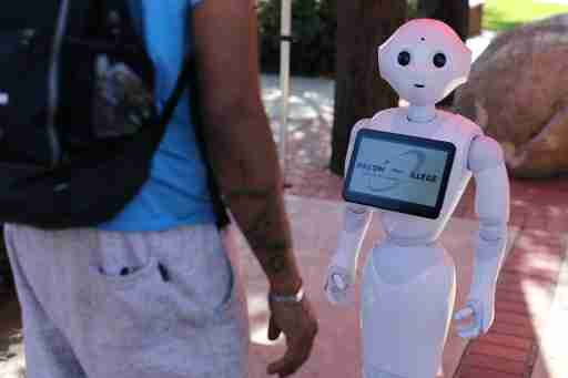 An artificial Intelligence project utilizing a humanoid robot from French company Aldebaran and reprogramed for their specific campus makes its debut as an assistant for students attending Palomar College in San Marcos, California, U.S. October 10, 2017. REUTERS/Mike Blake - RC17EC70A190