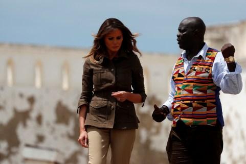 U.S. first lady Melania Trump tours Cape Coast Castle, Ghana, October 3, 2018. REUTERS/Carlo Allegri - RC12A76764A0