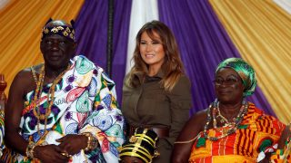 U.S. first lady Melania Trump poses for a photo during her visit to Cape Coast.