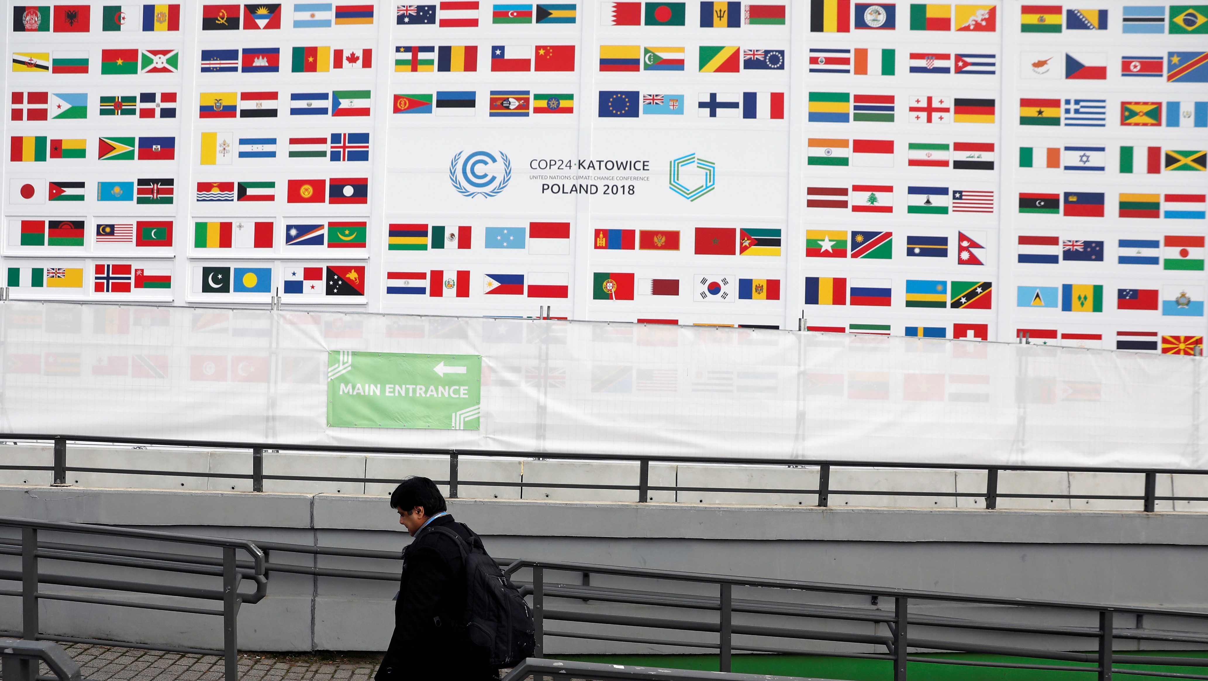 A delegate arrives for the COP24 UN Climate Change Conference 2018 in Katowice, Poland December 2, 2018. REUTERS/Kacper Pempel
