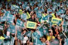 Supporters of the ruling Democratic Progressive Party (DPP) wave to candidates during a campaign rally for the local elections, in Taipei, Taiwan November 21, 2018. REUTERS/Tyrone Siu - RC1132B78CB0