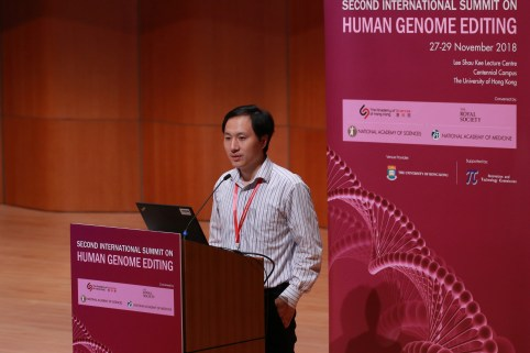 Scientist He Jiankui speaks during the International Summit on Human Genome Editing at the University of Hong Kong in Hong Kong, China November 28, 2018. REUTERS/Stringer  ATTENTION EDITORS - THIS IMAGE WAS PROVIDED BY A THIRD PARTY. CHINA OUT. - RC160E366BC0