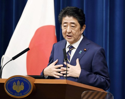 Japan's Prime Minister Shinzo Abe speaks during a news conference at Abe's official residence in Tokyo, Japan December 10, 2018.  Mandatory credit Kyodo/via REUTERS ATTENTION EDITORS - THIS IMAGE WAS PROVIDED BY A THIRD PARTY. MANDATORY CREDIT. JAPAN OUT. NO COMMERCIAL OR EDITORIAL SALES IN JAPAN. - RC1281930780