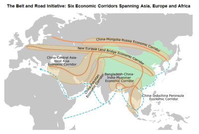 Map 2. The BRI's six main economic corridors