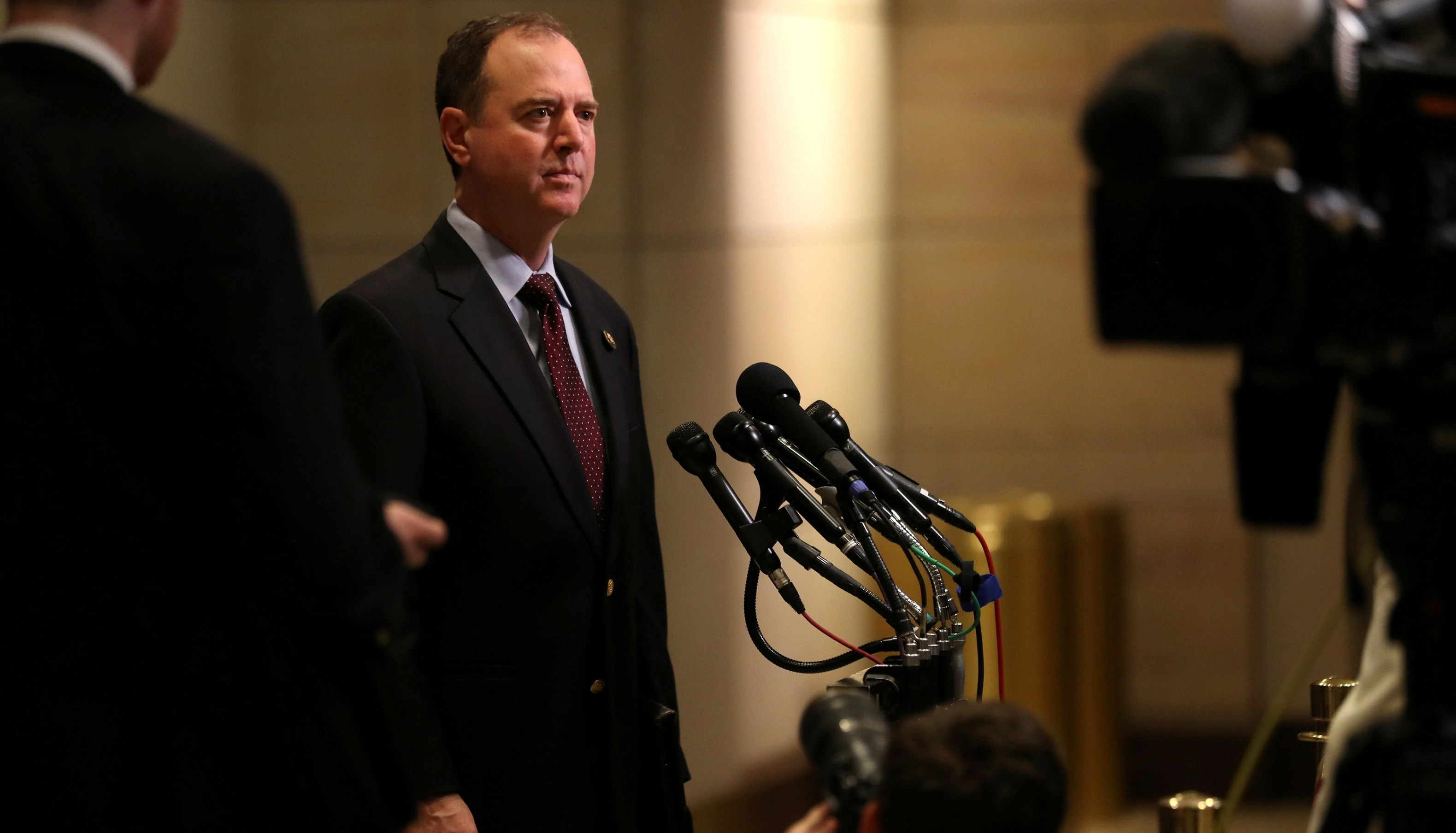U.S. Representative Adam Schiff, the ranking Democrat on the House Intelligence Committee, talks to reporters as he arrives for U.S. Secretary of Homeland Security Kirstjen Nielsen, FBI Director Christopher Wray and Director of National Intelligence Daniel Coats to brief the U.S. House of Representatives in a classified members-only briefing on election security at the U.S. Capitol in Washington, U.S. May 22, 2018.  REUTERS/Jonathan Ernst - RC1F64BD7DB0