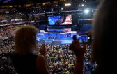 Delegates watch the Democratic Women of the Senate address at the Democratic National Convention in Philadelphia, Pennsylvania. U.S. July 28, 2016.  REUTERS/Charles Mostoller - HT1EC7S1T9V1T