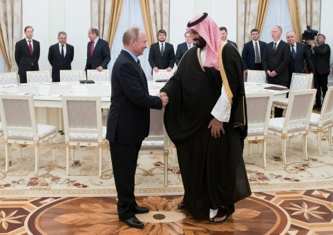 Russian President Vladimir Putin shakes hands with Saudi Deputy Crown Prince and Defence Minister Mohammed bin Salman during a meeting at the Kremlin in Moscow, Russia, May 30, 2017. REUTERS/Pavel Golovkin/Pool - RC19885B9FF0