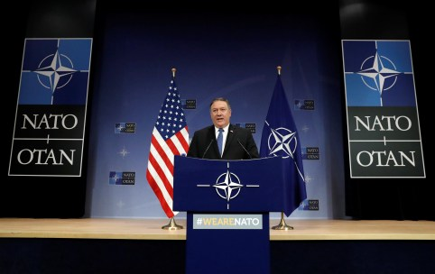 U.S. Secretary of State Mike Pompeo attends a news conference at the Alliance's headquarters, in Brussels.