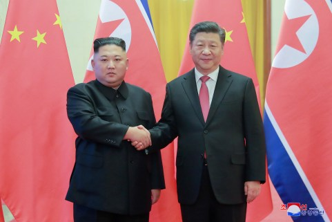 Kim Jong Un meets Xi Jinping in Beijing, China, in this photo released by North Korea's Korean Central News Agency (KCNA) on January 10, 2019.