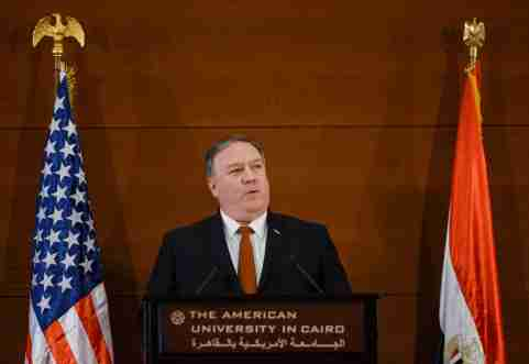 U.S. Secretary of State Mike Pompeo speaks to students at the American University in Cairo, Egypt, January 10, 2019. Andrew Caballero-Reynolds/Pool via REUTERS - RC15D1E44B00