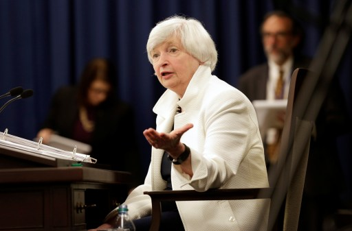 Federal Reserve Chairman Janet Yellen speaks during a news conference after a two-day Federal Open Markets Committee (FOMC) policy meeting in Washington, U.S., September 20, 2017. REUTERS/Joshua Roberts - RC152544FA20