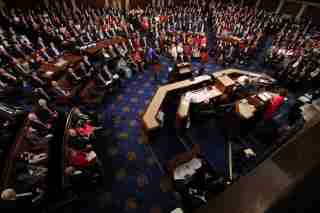 Speaker Nancy Pelosi (D-CA) addresses the U.S. House of Representatives during the start of the 116th Congress on Capitol Hill in Washington, U.S., January 3, 2019. REUTERS/Jonathan Ernst - RC1A13FFE820