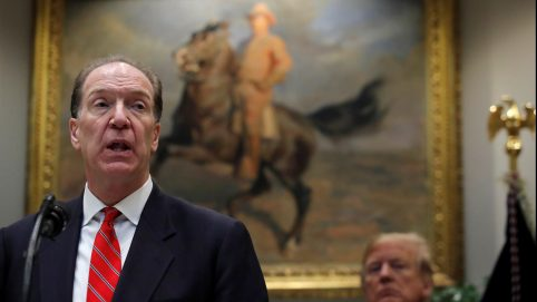U.S. candidate in election for the next President of the World Bank David Malpass speaks at an event with U.S. President Donald Trump.
