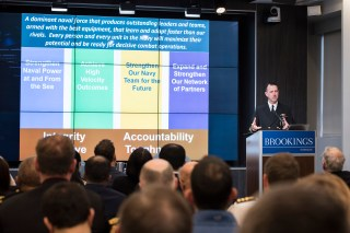 190128-N-BB269-0048 WASHINGTON (Jan. 28, 2019) Chief of Naval Operations (CNO) Adm. John Richardson delivers remarks during a discussion held at the Brookings Institution. Richardson discussed the U.S. NavyÕs recently released document, ÒA Design for Maintaining Maritime Superiority, Version 2.0Ó and answered questions from the audience. (U.S. Navy photo by Mass Communication Specialist 1st Class Raymond D. Diaz III/Released)