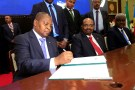 Central African Republic President Faustin Archange Touadera signs a peace deal between the Central African Republic government and 14 armed groups following two weeks of talks in the Sudanese capital Khartoum, Sudan, February 5, 2019. REUTERS/Mohamed Nureldin Abdallah - RC145AE69E40