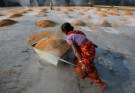 A worker carries boiled rice in a wheelbarrow to spread it for drying at a rice mill on the outskirts of Kolkata, India, January 31, 2019. Picture taken January 31, 2019. REUTERS/Rupak De Chowdhuri - RC135B0DC940