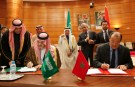 "Morocco's Foreign Minister Taieb Fassi Fihri (R) and his Saudi counterpart Prince Saud al-Faisal sign an agreement during the 11th Moroccan-Saudi joint Commission in Rabat February 10, 2011. Saudi Arabia's King Abdullah bin Abdul-Aziz is alive and in ""excellent shape,"" the Saudi foreign minister said on Thursday after Rumors about the king's health triggered a spike in the price of oil. REUTERS/Youssef Boudlal (MOROCCO - Tags: POLITICS ROYALS) - GM1E72B057701"