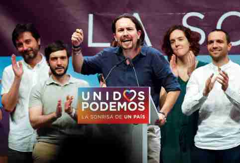 Podemos (We Can) leader Pablo Iglesias, now running under the coalition Unidos Podemos (Together We Can), delivers a speech during the last campaign rally for Spain's upcoming general election in Madrid, Spain, June 24, 2016. REUTERS/Andrea Comas - S1AETLVBIWAA