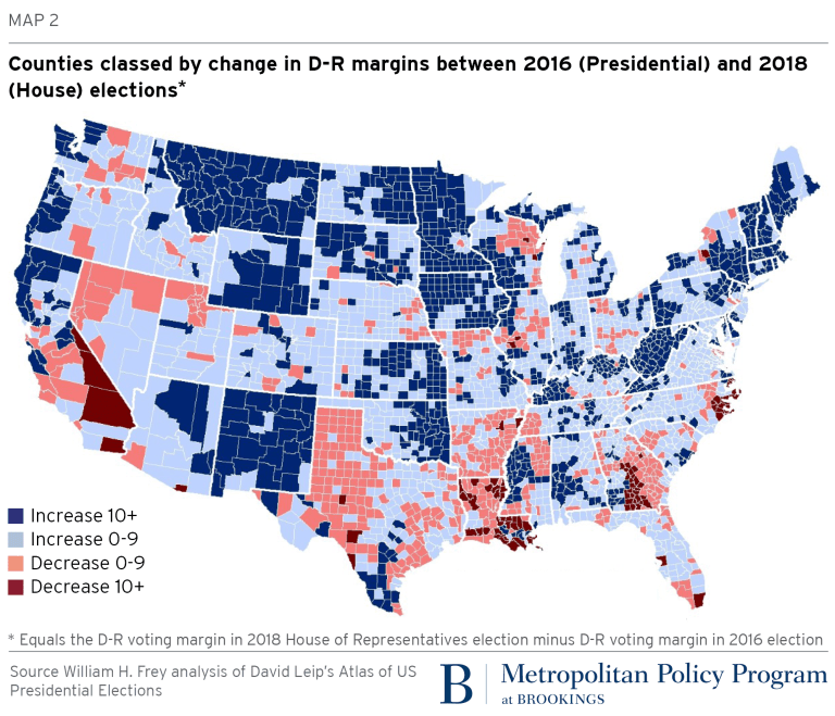 A vast majority of counties showed increased Democratic ...