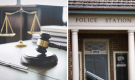 Gavel and scales of justice, police station