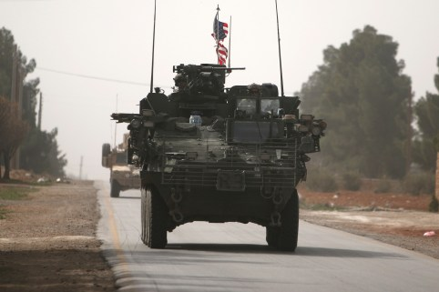 American army vehicles drive north of Manbij city, in Aleppo Governorate, Syria March 9, 2017. REUTERS/Rodi Said - RC1D16A42820