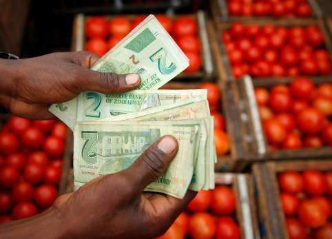 A man counts bond notes at a vegetable market in Harare, Zimbabwe, January 23, 2019. REUTERS/Philimon Bulawayo - RC11BE7ABB10