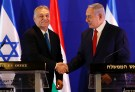 Hungarian Prime Minister Viktor Orban and Israeli Prime Minister Benjamin Netanyahu shake hands after their meeting in Jerusalem February 19, 2019. Ariel Schalit /Pool via REUTERS  *** Local Caption *** - RC16E22BC130
