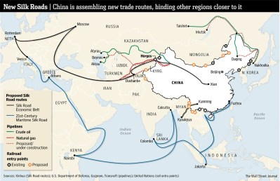 New Silk Roads, China is assembling new trade routes, binding other regions closer to it (Source: Wall Street Journal)