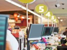Cashier's display screen at store checkout counter. Row of screens are seen in this shallow DOF picture.