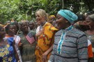 White House Advisor Ivanka Trump walks with the President of the women association Bamba Awa, as she meets women entrepreneurs, at the demonstration cocoa farm in Adzope, Ivory Coast April 17, 2019. REUTERS/Luc Gnago - RC1F706B5990