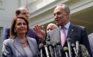U.S. House Speaker Nancy Pelosi and Senate Democratic Leader Chuck Schumer speak to reporters after their meeting on infrastructure with U.S. President Donald Trump, at the White House in Washington, U.S., April 29, 2019.  REUTERS/Kevin Lamarque - RC151F7F92D0