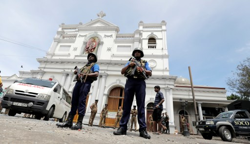 Sri Lankan military officials stand guard in front of the St. Anthony's Shrine, Kochchikade church after an explosion in Colombo, Sri Lanka April 21, 2019. REUTERS/Dinuka Liyanawatte - RC1E2EE98B10